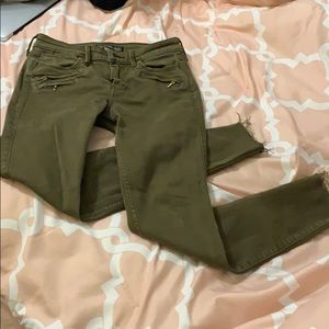 A&F Skinny olive colored jeans